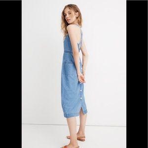 Madewell Denim Apron Midi Dress size 8 NWT